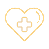 Drawing of a yellow heart with a cross on the front symbolizing health.