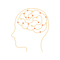 Drawing of a cross-section of a head showing the brain with dots symbolizing finding purpose.